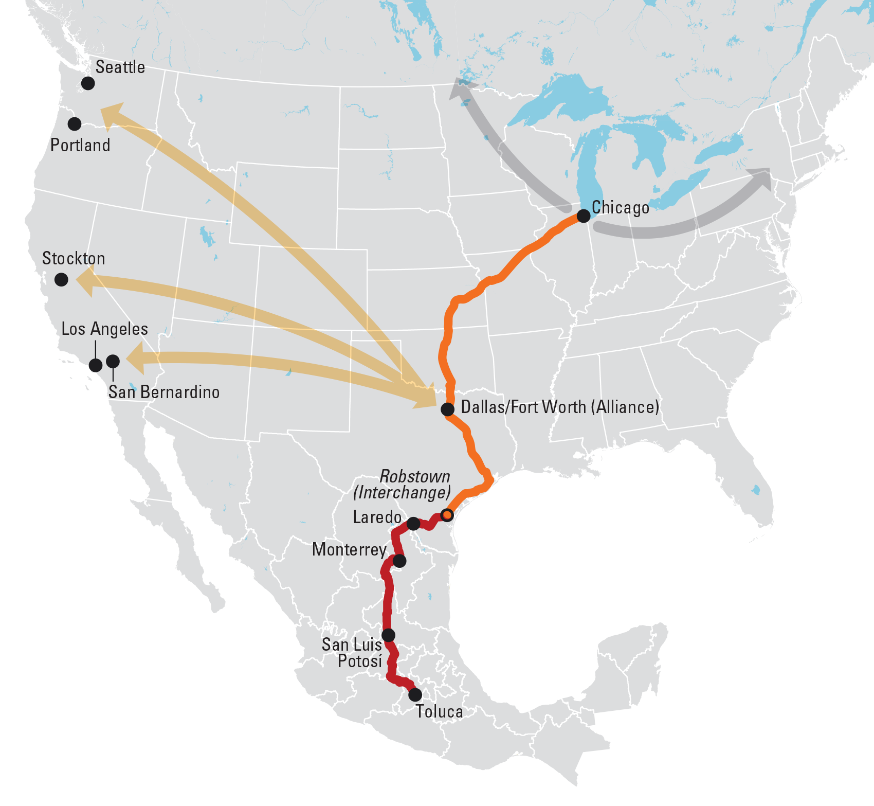 Routes of the new BNSF KCS service for shipping freight to and from Mexico.